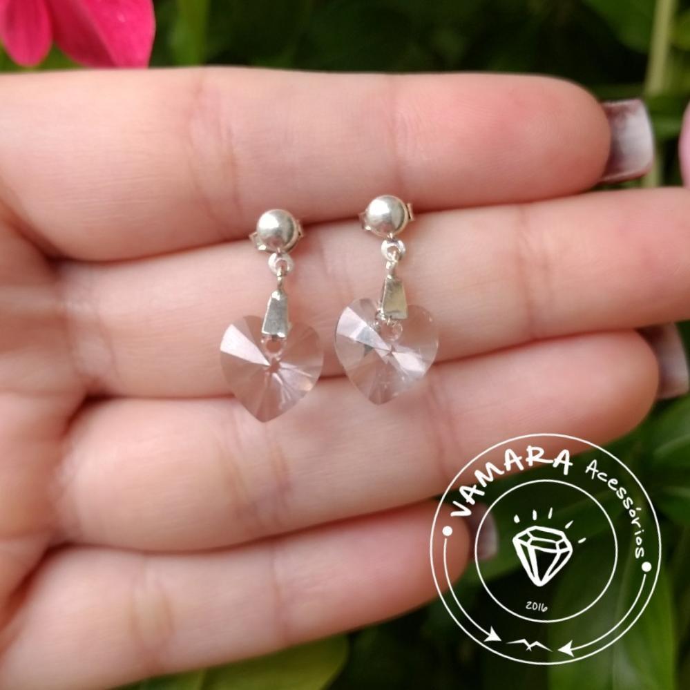 0c389e0283f1 Brinco De Prata 925 - Coração De Cristal Swarovski