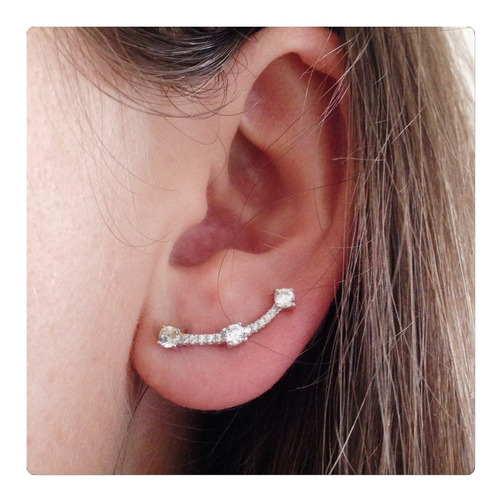 brinco  de prata ear cuff com zircônias prata 925
