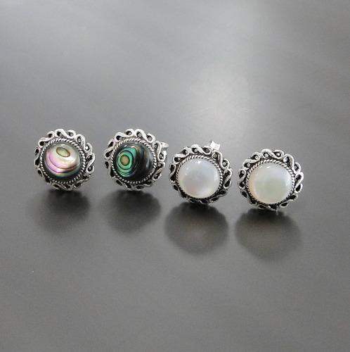 brinco de prata maciça 925 com abalone ou madrepérola - 2303