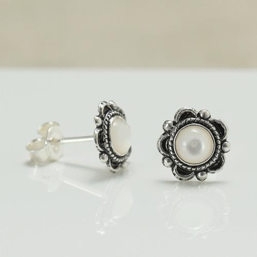 brinco de prata pura 925 madrepérola,turquesa,onix - 3122