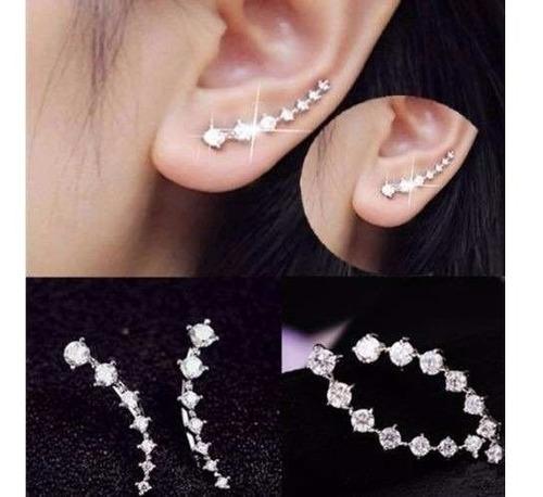 brinco de strass de cristal de prata gancho de orelha jóias