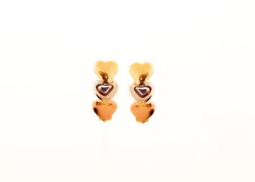 brinco de trava click três coraçoes tricolores, em ouro 18kt