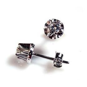 Brinco Diamante Brilhante 0.26 Cts Ouro Branco 18k