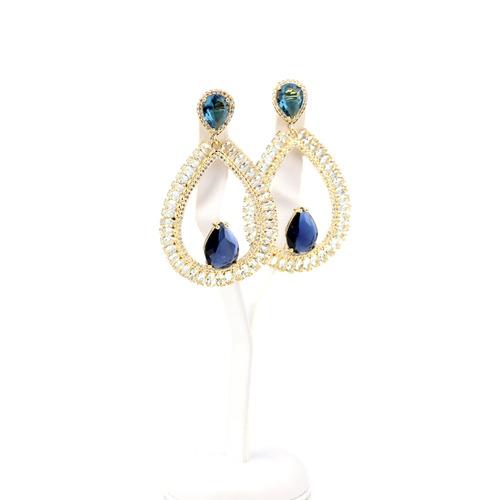 brinco dourado safira cravejado em azul e zircônia -br010199
