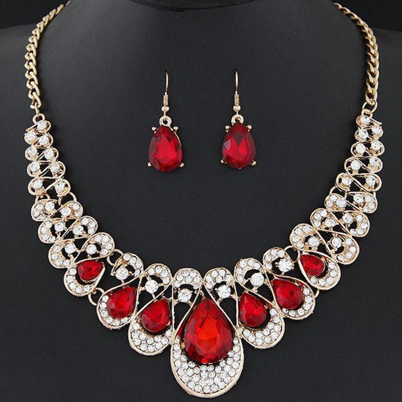 brinco e colar conjunto pedras vermelhas dourado feminino. Carregando zoom. f5ba5f620c