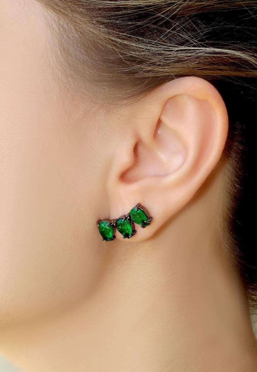 Brinco Ear Cuff Gota Verde Esmeralda - R  89,70 em Mercado Livre 01252b4011
