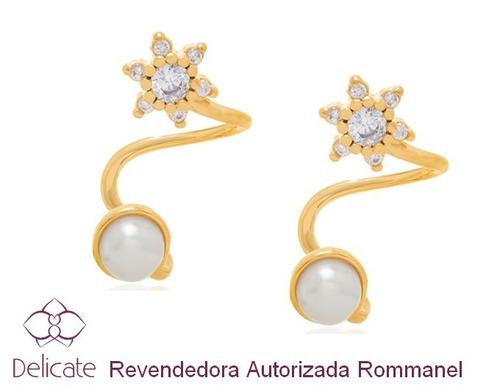 brinco ear cuff rommanel folheado a ouro flor pérola 526020