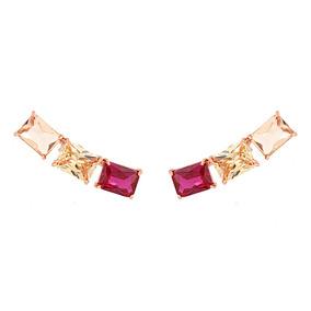 3e21a6795 Brinco Ear Cuff/piercing Colorido Zircônia Bijuteria Rosê por Rosa Valverde