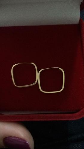 brinco em ouro 18 k quadrado jóia feminina
