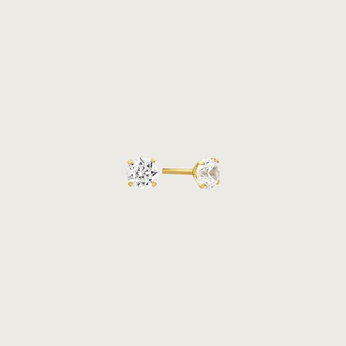brinco em ouro 18k (750) com zircônia
