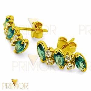 brinco em ouro com zircônias e esmeraldas sintéticas br029