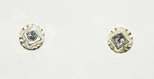 brinco em prata 925 com zircônia 4 mm