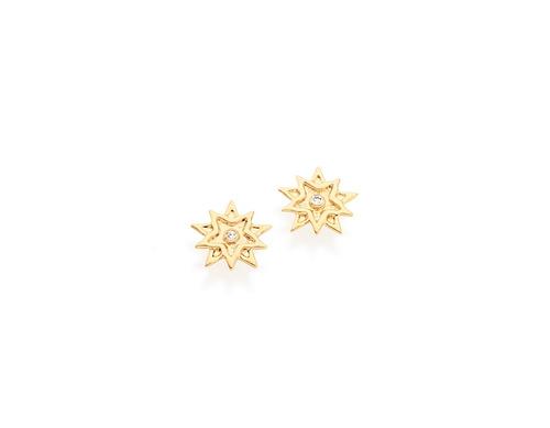 brinco estrela 9x9mm cristal 1,5mm ouro rommanel 525045