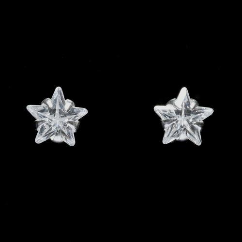 brinco estrela com zircônia 6mm em prata 925