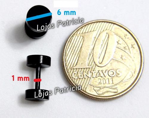 brinco falso alargador 6 mm par masculino feminino preto aço