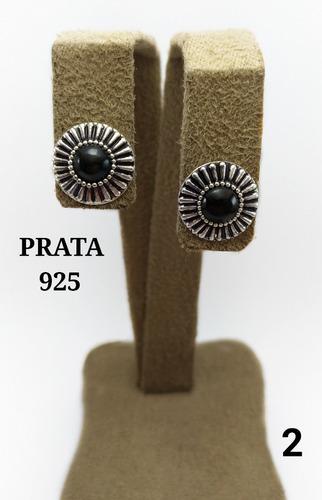 brinco feminina de prata 925 c/ pedra turmalina preta