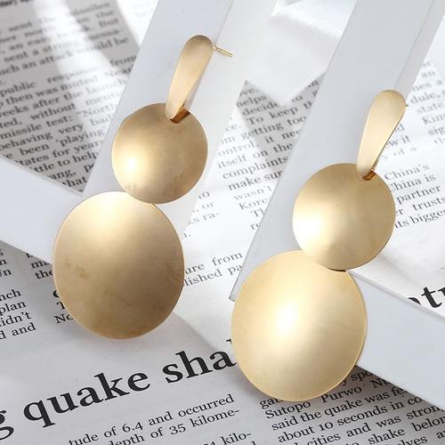 brinco feminino aço banho ouro 18k dourado argola grande c1046