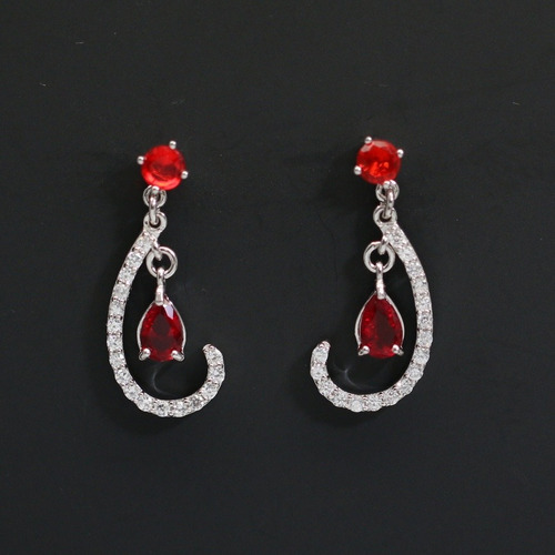 brinco feminino alto brilho luxo prata + ródio + cristais