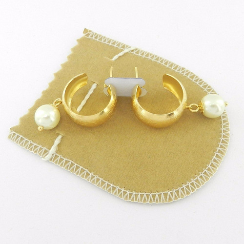 brinco feminino argola perola 10mm folheado ouro br263