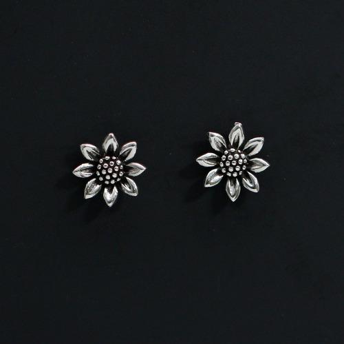 brinco feminino de prata 925 flor trabalhada bali