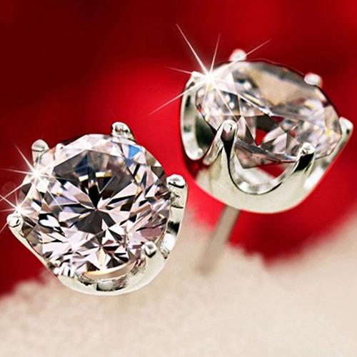brinco feminino de prata com cristal austriaco ponto de luz