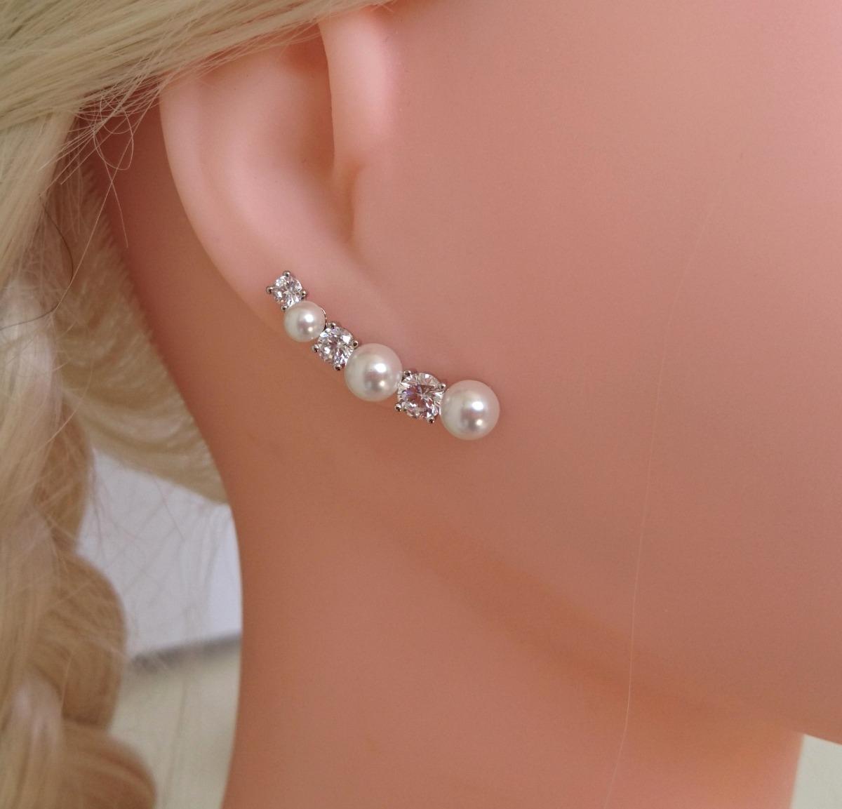 98cb9ed9bc518 brinco feminino ear cuff pedra zirconia e pérola semi jóia. Carregando zoom.