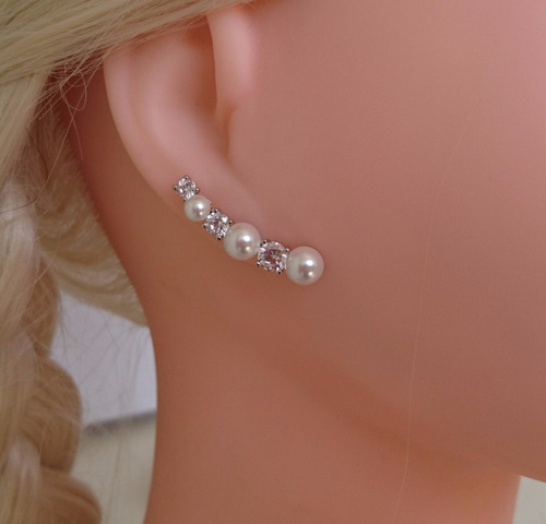 brinco feminino ear cuff pérola shell banhado ouro branco