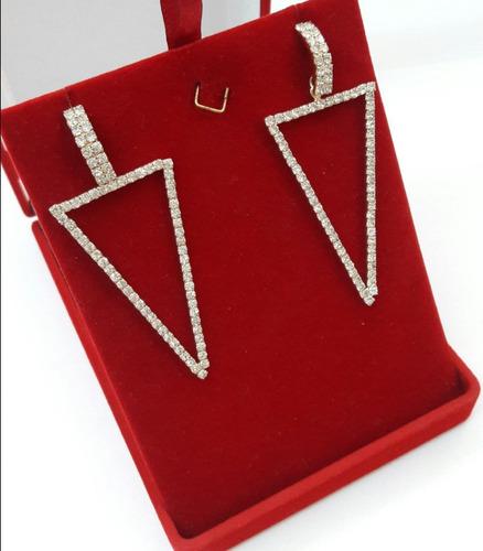 brinco feminino formato triangulo folheado a ouro 18k