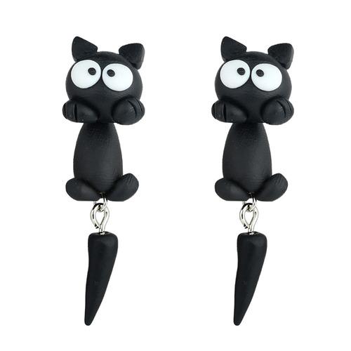 brinco feminino gatinho preto pendurado cauda que balança