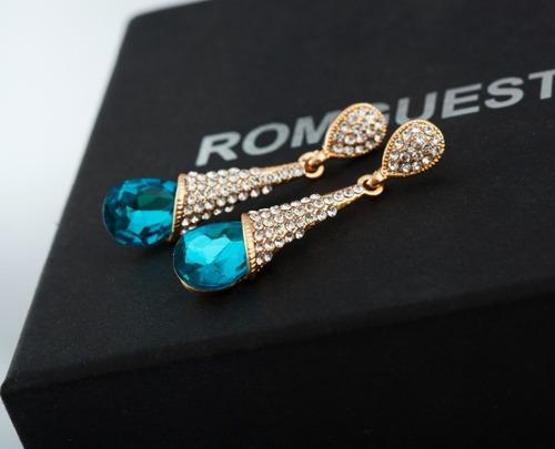 brinco feminino gota de cristal azul com cristais brilhante