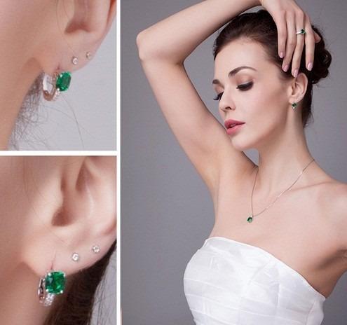 brinco feminino joia prata 925 esmeralda luxo noivado