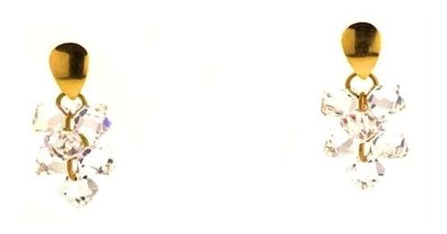 brinco feminino ouro 18k penduricalho cachos cristais 0930