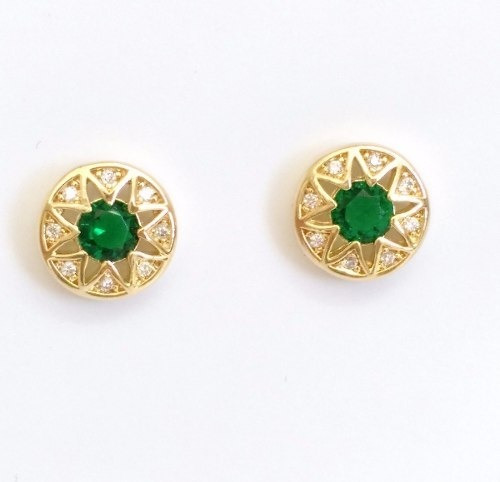 brinco feminino pequeno cristal verde banhado ouro 18k