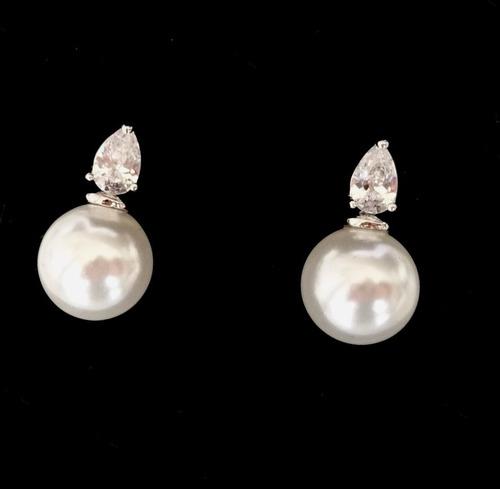 brinco feminino pérola shell e zirconia banhado ouro branco