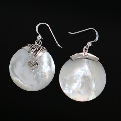 brinco feminino prata de bali + concha marinha - importado