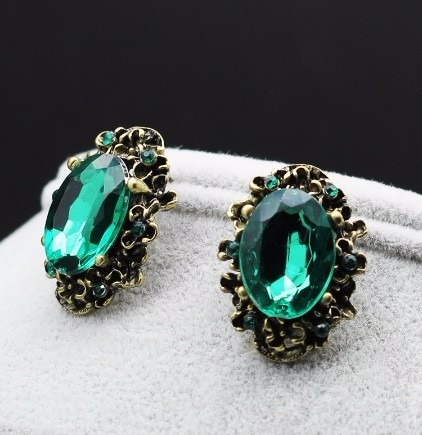 brinco feminino rubi verde bijuteria