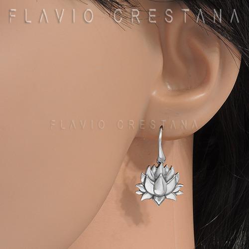 brinco flor de lotus, prata 925, fabricação própria - 210462