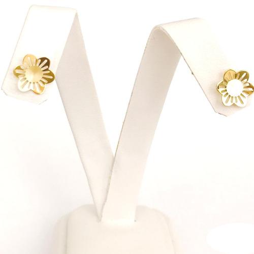 brinco flor em ouro 18k amarelo linda jóia