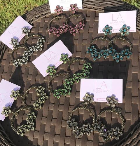 brinco flores cravejadas (verde)