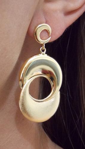 brinco folheado a ouro - 3  meia lua 012105