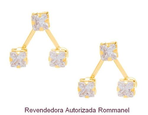 brinco formato v invertido rommanel folheado ouro 526096