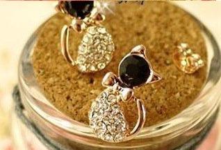 brinco gata banhado ouro cristal