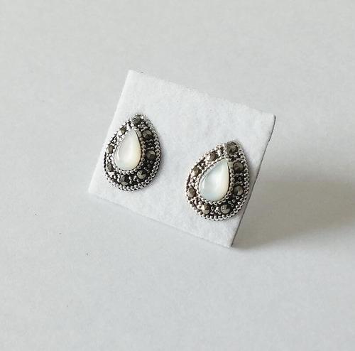 brinco gota madrepérola com marcassita em prata 925