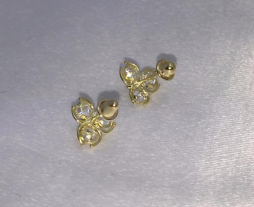 brinco infantil de ouro amarelo 18k e zircônias suissa