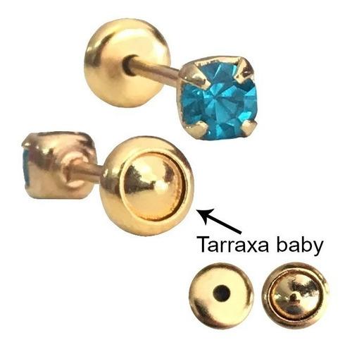 brinco infantil tarraxa baby folheado ouro atacado 12 pares