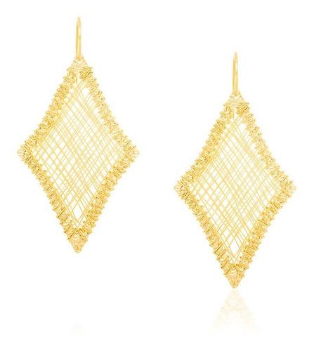 brinco losango detalhes em toda ouro rommanel 523349