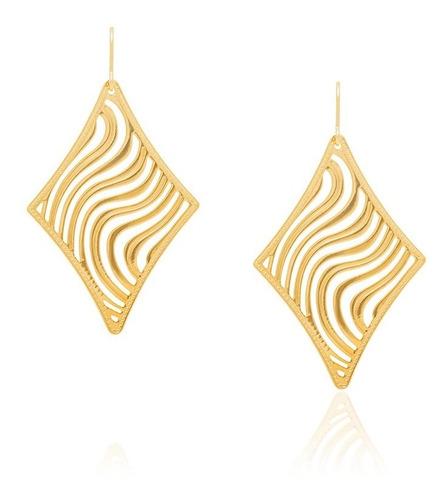 brinco losango trabalhos ondulados e ouro rommanel 523213