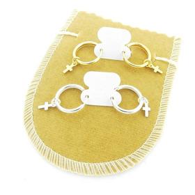 Brinco Masculino 13mm 2 Pares Cruz Folheado Ouro/prata Br252