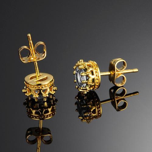 brinco masculino banhado ouro amarelo 18k + cristal zircônia