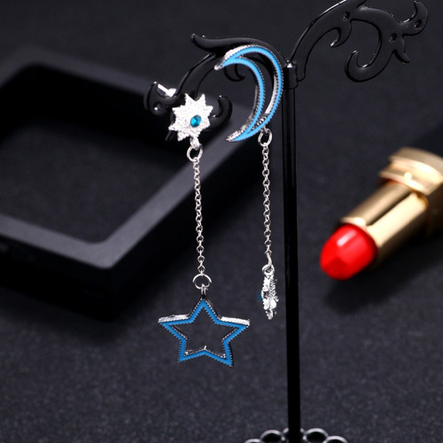 brinco místico cigana lua estrela cristal strass luxo azul